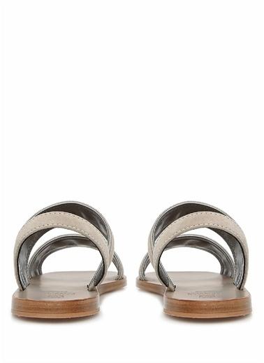 Brunello Cucinelli 101623655 Topuğu Zincir Şerit Detaylı Kadın Sandalet Gri